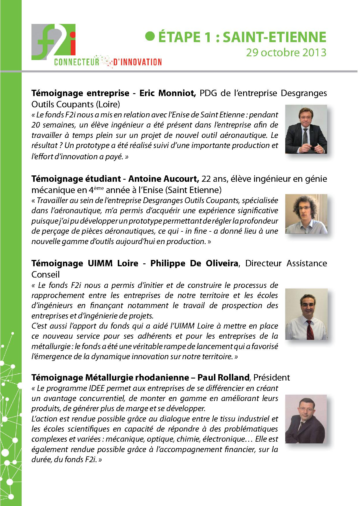 Témoignages Programme IDEE3 - F2i - UIMM - PERSPECTIVES